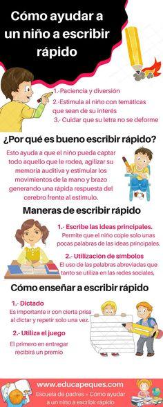 Cómo ayudar a un niño a escribir rápido - Kids Education, Special Education, Spanish Teaching Resources, School Items, Classroom Language, Happy Mom, Teacher Tools, Pre School, Kids And Parenting