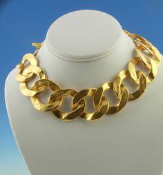 Kenneth Jay Lane Large Link Gold Tone Necklace #KennethJayLane