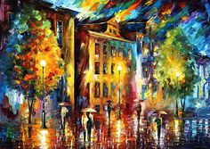 Cold City - original oil painting on canvas by Leonid Afremov
