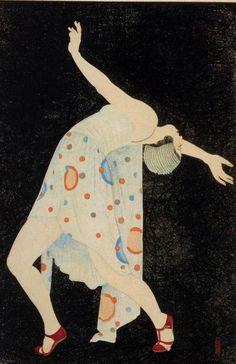 Deco Dance by Kobayakawa Kiyoshi - 1932 This is gorgeous. How can I get this in poster form? Art Nouveau Pintura, Arte Art Deco, Moda Art Deco, Estilo Art Deco, Art Deco Artists, Art And Illustration, Japanese Prints, Japanese Art, Japanese Fashion