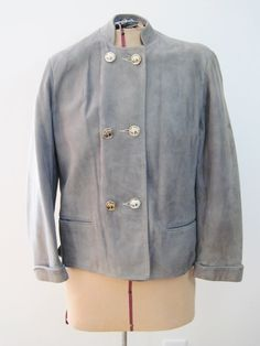 Vintage Jacket Grey Suede with Silver Buffalo Buttons by FairSails, $23.75 #vintage #retrostyle