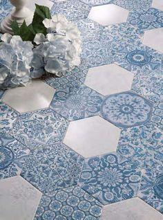 sześciokatne płytki niebieskie marokańskie