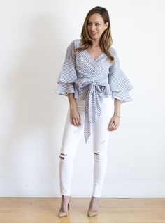 Sydne Style shows how to wear spring gingham trend in a wrap top