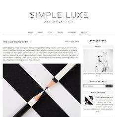 Premade Blogger Template Simple Lux — Shiny Magic   Blog Design