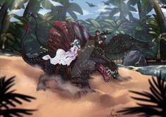 by Naaura on DeviantArt Dinosaur Games, Dinosaur Art, Spinosaurus, Anime Wolf, Prehistory, Jurassic World, Cool Names, Mythical Creatures, Godzilla