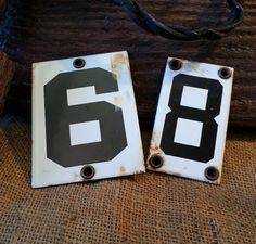 Vintage Porcelain Enamel Number Tags