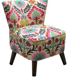 [Wrong: asymmetrically placed fabric looks unbalanced and, well, just wrong. For right, see next photo.] ugly chair