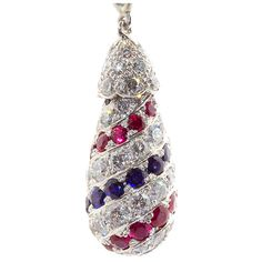 OSCAR HEYMAN Diamond, Ruby, & Sapphire Platinum Pendant
