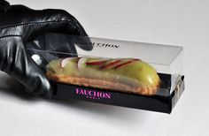 Savory Eclair with Pear Sauce topped with Radishes, filled with Salmon Chive Cream from Fauchon Paris (via luxirare.com)