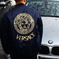 Versace represents the good life because people associate expensive clothes and expensive things in general with living a good life. Bape, Mode Man, Versace Men, Versace Brand, Versace Jacket, Gucci Jacket Mens, Versace Hoodie, Versace Sneakers, Men's Clothing