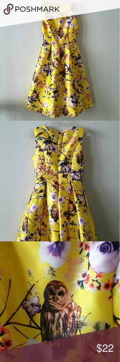 Unique Cute Flair Dress Unique and Cute Yellow Flare Dress Owls and Squirrels are the super cute part :) It even has pockets. Hidden zipper in back Size S Dresses