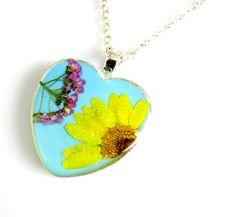 Sunshine Pendant Real Flower Pendant by PressedFlowerJewelry, $30.00