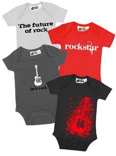 Baby Rockstar Boy 4 One Piece Set by My Baby Rocks - cool rocker black red punk onesie baby shower gift ideas - My Baby Rocks