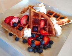 Belgian Waffles with Strawberries, Blueberries & Whipped Cream