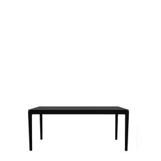 The Bok dining table assumes a soft and sensual shape, with a delicate thinness that conceals a solid construction. This season, this table tries on a darker shade. And as they say, everything looks better in black. This Bok dining table is made of solid oak and is available in five sizes.