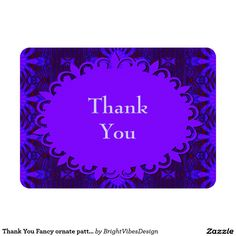 Thank You Fancy ornate pattern 4.5x6.25 Paper Invitation Card