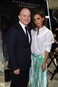 Bergdorf Goodman President Joshua Schulman and Victoria Beckham attend the launch of the Victoria Beckham Estee Lauder makeup collection at Bergdorf Goodman on September 13, 2016 in New York City.