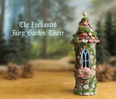 The Enchanted Fairy Garden Tower - Miniature Stone Woodland Tower with Periwinkle Blue Gothic Window, Scallop Tiled Roof and Gold Finial - DIY Fairy Gardens Fairy Garden Houses, Gnome Garden, Fairy Gardening, Indoor Gardening, Fairy Crafts, Garden Crafts, Fairy Land, Fairy Tales, Fairy Village