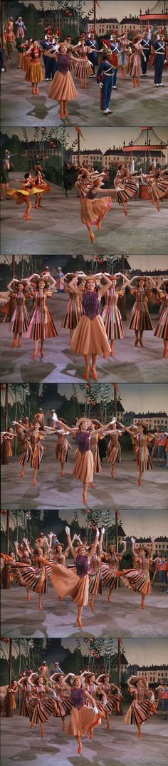 Leslie Caron leads a troupe of dancers in An American in Paris 1951.