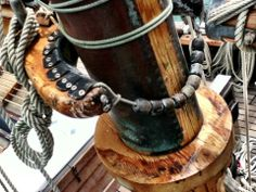Nautical rigging on the R. Tucker Thompson out of Opua, New Zealand. Old Sailing Ships, Still Life Photos, Sail Boats, Batten, Tall Ships, Model Ships, Ropes, Scale Models
