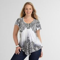 This flirty and stylish sublimation top is a great, figure-flattering choice for full figured women. The pleated shape provides plenty of room, and the detailed pattern at the top and bottom draws eyes away from the tummy area. This lovely shirt is available from Sears in sizes 1X through 3X, and it's priced at less than $45.