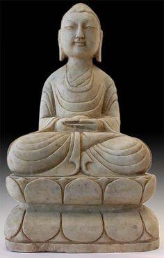 """Shakyamuni (Gautama Buddha, """"Sage of the Sakyas"""") Holding Medicine Bowl.     China, Circa: Qing dynasty, 19th century.  tumblr_mdb13sXw021r4p4ago1_500.jpg (390×615)"""