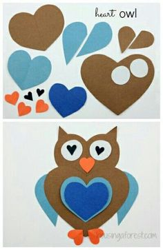 owl crafts diy ~ owl crafts & owl crafts for preschoolers & owl crafts for kids & owl crafts for toddlers & owl crafts for adults & owl crafts for kids to make & owl crafts diy & owl crafts sewing Kids Crafts, Owl Crafts, Animal Crafts, Toddler Crafts, Preschool Crafts, Paper Crafts, Kids Diy, Heart Crafts, Arts And Crafts For Kids Easy