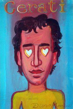 Cerati y corazones , acrílico sobre tela, 27 x 18 cm. 2015. Painting for sale by Diego Manuel