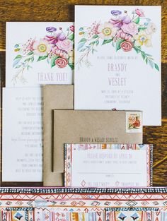 Oh So Beautiful Paper: Eclectic Painted Floral Wedding Invitations