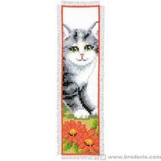 Marque-page à broder chat - La Maison du Canevas et de la Broderie