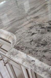 Super White Quartzite with large ogee edge Countertop. Alternative Countertop Ideas. #SuperWhiteQuartzite #Quartzite