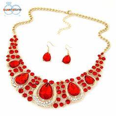 Fashion Crystal Necklace Jewelry Statement Bib Pendant Charm Chain Choker