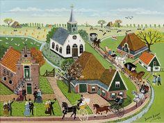 "Jannie Kuiper 1932  ""WestFries Bruidspaar te Spanbroek""  Olieverf op doek: 30 x 40 cm  Gemerkt: Jannie Kuiper en 2005.  Herkomst: Particuliere collectie Nederland"