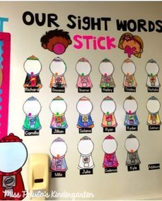 Looking for ways to display mastery of kindergarten sight words? This kindergarten sight word bulletin board display is a cute way to show student progress toward sight word mastery! Could use cupcakes and draw sprinkles. Teaching Sight Words, Sight Word Practice, Sight Word Games, Sight Word Activities, Sight Word Wall, Kindergarten Sight Words, Group Activities, Educational Activities, Kindergarten Language Arts