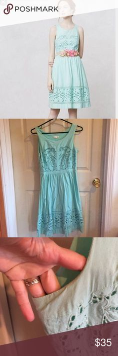"Anthropologie Mint Dress By Meadow Rue. Side zip and pockets. Bust is about 17"" flat, waist is about 14"" flat, length is about 38"". Shows some wear under the arms and needs an ironing. Has a few teeny marks. Anthropologie Dresses"