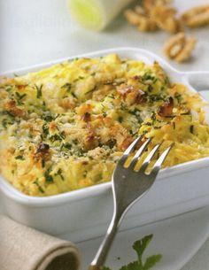 Σουφλέ από tagliolini με πράσο και τυρί brie - Συνταγή  i-Food.gr by Giorgio Spanakis