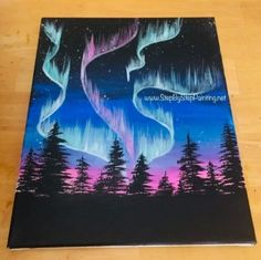 How to paint Aurora Skyline - painting step by step . - How to paint Aurora Skyline – painting step by step paint - Cute Canvas Paintings, Canvas Art, Simple Paintings, Bear Paintings, Painting Inspiration, Art Inspo, Kunst Inspo, Skyline Painting, Skyline Art