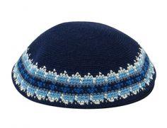 Kippah Jewish Kipa Hand Knit Kippot DMC 16cm Judaica Crochet Yarmulke Hand made Kipa #B1680