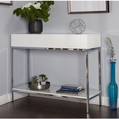 Simple Living White Wood and Chrome Metal High Gloss Console Table | Overstock.com Shopping - The Best Deals on Coffee, Sofa & End Tables