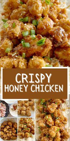 Entree Recipes, Easy Dinner Recipes, Asian Recipes, Beef Recipes, Chicken Recipes, Cooking Recipes, Crispy Honey Chicken, Chicken Soy Sauce Honey, Entrees