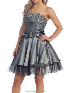 Taffeta Diagonal Pleats Bodice Cocktail Dress $144.00