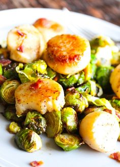 20-Minute Seared Scallops with Warm Shredded Brussels Sprouts. - Layers of Happiness