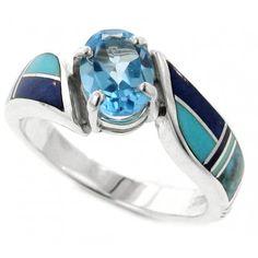 Inlaid Sterling Silver Ring - Native American Jewelry, Sterling Silver, Navajo Jewelry handmade by Supersmiths   Black Arrow - Black Arrow Indian Art