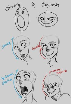 stretch and squash - great tutorial for illustrated facial expressions
