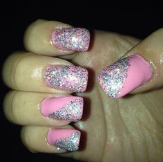 Pink Glitter Nails ❤️