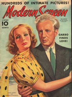 Modern Screen magazine, June 1938. (Leopold Stokowski and Greta Garbo)