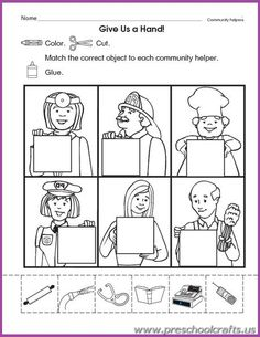 Community Helpers Printable Worksheets for Kids - Preschool and Kindergarten Community Helpers Kindergarten, Community Helpers Activities, Kindergarten Social Studies, School Community, Kindergarten Worksheets, In Kindergarten, Preschool Activities, Community Helpers For Kids, Space Activities