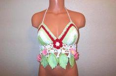 a86417eb95d Crochet Flower Leaf Hippie Halter Top by Vikni Crochet Tığ Işi Çiçekler
