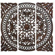 Three-piece openwork medallion wall decor set.Product: 3 Piece wall art set   Construction Material: Wood    ...