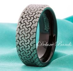 Truck Tire Tungsten Ring Black Band Tire Pattern Tungsten Wedding Band Track Tire Mens Ring Anniversary Band Wedding Ring Laser Engraved